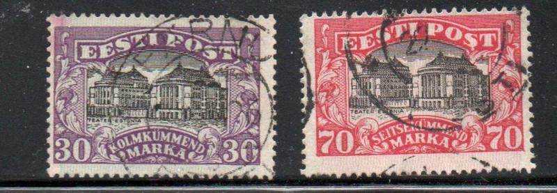 Estonia Sc 81-2 1924 National Theatre Tallinn stamp set used