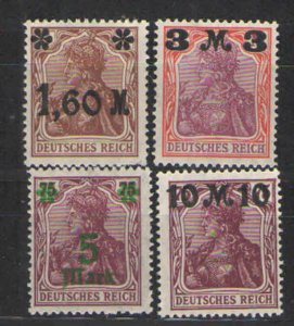 Germany - Weimar Era 1921 Sc# 133-136 MH VG   1921 Surcharged issues