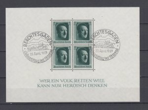 WWII Third Reich 1937 Block Michel 7 VFU Berchtesgaden Postmark