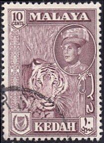 Malaya - Kedah # 100 used ~ 10¢ Tiger
