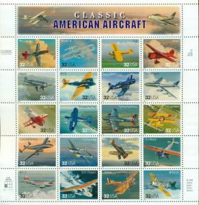 US: 1997 CLASSIC AMERICAN AIRCRAFT;  Sheet of 20, Sc 3142; 32 Cents, Airplanes