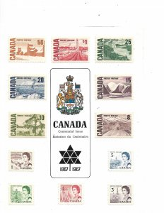 COLLECTION LOT #705 CANADA CENTENNIAL PRESENTATION CARD (REAL STAMPS) 1967