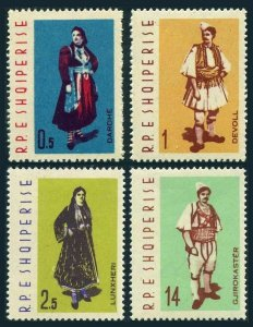 Albania 635-638,lightly hinged.Michel 695-698. Regional costumes,1962.