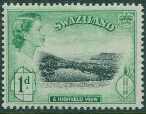 Swaziland 1956 SG54 1d black and green Highveld View QEII MLH
