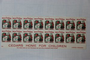Merry Christmas Cedars home Children 1965 Lincoln NB Charity stamp seal Sheet
