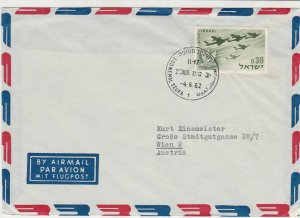 Israel 1962 Airmail to Austria multi plane Stamps Cover ref  R18009
