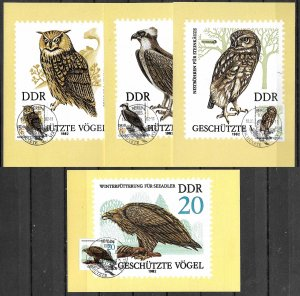 GERMANY DDR 1982 SET OF 4 MAXI CARDS MC MAXIMUM CARDS PROTECTED SPECIES, BIRDS