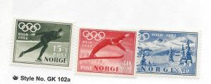 Norway, B50-52, Winter Olympic Games Oslo Singles, **MNH/LH**