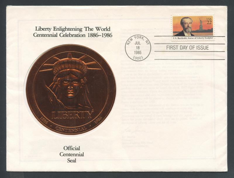 US Scott's # 2147 Liberty Seal of Statue copper flown in space FDC
