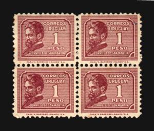 1933 Uruguay writter Zorrilla San Martin Poet Sc #414/8 MLH cv$100 XF centering