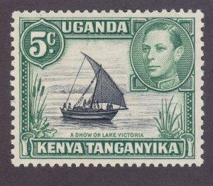 Kenya Uganda & Tanzania 67 Mint 1938 5c Green Dhow on Lake Victoria