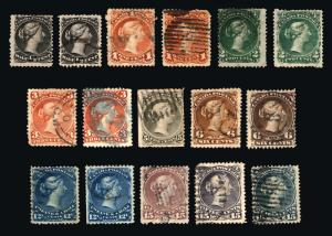 Rare Stamps Canada #21-#30 1868-76 Large Queen Heads Nice Used Lot 16 items