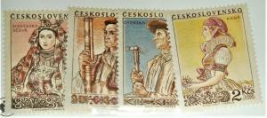 CZECHOSLOVAKIA 1955 COSTUMES OF OCOVA, SLOVAKIA SC # 707-710 MLH