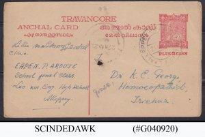 TRAVANCORE - 1922 6 CASH + 2 CASH POSTCARD - ANCHAL CARD USED