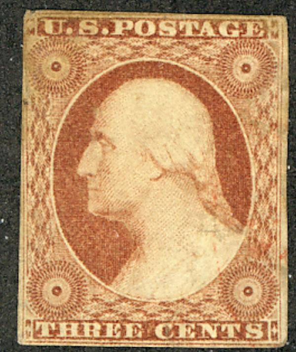 US #11 SCV $350. 3c Washington Imperf, VF/XF mint hinged, nicely centered, Fr...