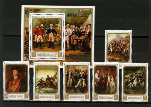 MANAMA 1972 PAINTINGS/AMERICAN HISTORY SET OF 6 STAMPS & S/S PERF. MNH