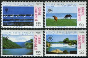 Turkey MNH 2031-4 Wetlands Conservation Birds Horses Nature 1976