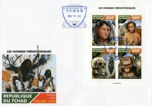 CHAD  2020 PREHISTORIC MAN SHEET FIRST DAY COVER