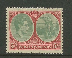 ST.KITTS & NEVIS 1938/50 Sg 77, 5/-  Grey-Green & Scarlet, M/Mint. ( Box 5-12}