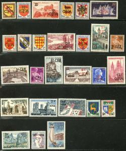 REUNION Sc#269//362 1949-67 27 Different Ovpts on France OG Mint LH