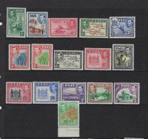 FIJI SCOTT #117-20/122-131A (MISSING #121) 1938-55 GEORGE VI PARTIAL SET-MANY NH