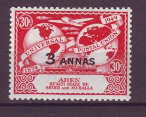 J20869 Jlstamps 1949 aden shihr & mukalla mnh #17 upu ovpt