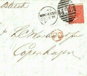 GB Cover DESTINATION MAIL *Manchester* 4d Rate Denmark *Copenhagen* 1871 AA129