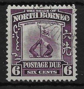 NORTH BORNEO SGD87 1939 6c VIOLET POSTAGE DUE USED