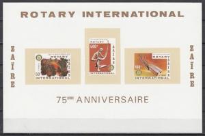Zaire, Scott cat. 973a. Rotary International, IMPERF s/sheet. Music value.