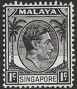 SINGAPORE 1948 KGVI 1c Portrait Issue Sc 1 MNH