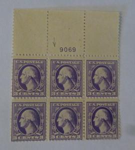 #530 3 cent Washington plate block