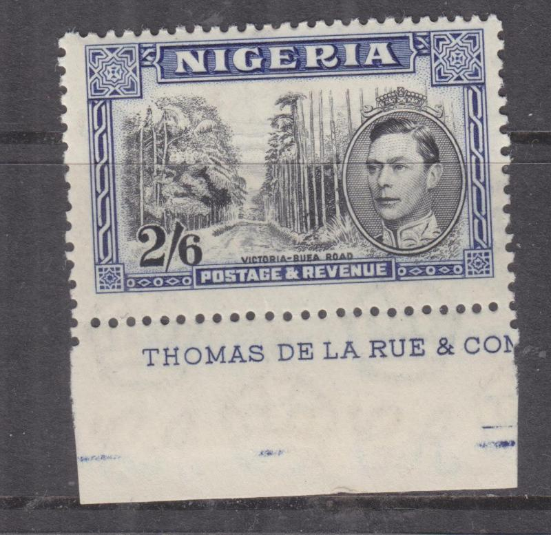 NIGERIA, 1938 KGVI 2s.6 perf. 13 x 11 1/2, part imprint, lhm,gum toning as usual