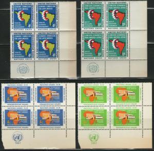 UN NY MNH Scott # 93-96 Latin America & Africa Inscription Blocks (16 Stamps) -2