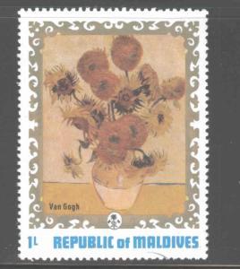 Maldive Islands Scott 420 MNH** 1973 Van Gogh Sunflower stamp