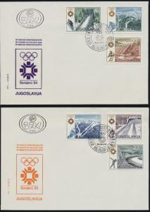 Yugoslavia 1645-50 on FDC's - Winter Olympics, Skiing, Ski Jump, Ice Hockey