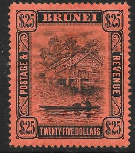 BRUNEI SG48 1910 $25 BLACK ON RED MTD MINT