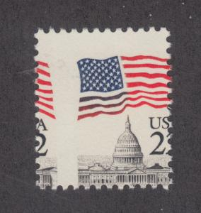 US Sc 2114 MNH. 1985 Flag Over Capitol Dome, dramatic 2-way MISPERF, ERROR