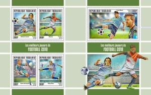 Z08 IMPERF TG190142ab TOGO 2019 The best football players MNH ** Postfrisch