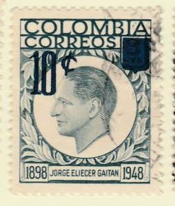 Colombia 1959 10c on 3c Fine Used A8P55F109