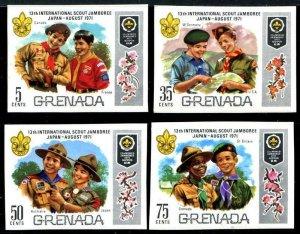 HERRICKSTAMP GRENADA Sc.# 409-12 Boy Scout Imperf Error Stamps