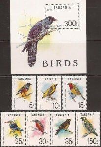 Tanzania - 1992 Birds Starling Kingfisher - 7 Stamp Set + Souvenir Sheet #978-85