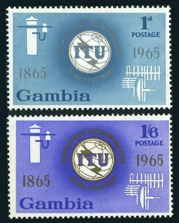 Gambia 210-211,MNH.Michel 205-206. ITU-100.1965.Communication equipment.