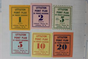 Littleton NH Stamp Co Point Profit Sharing Plan set coupons trading value
