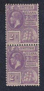 British Guiana 193 MNH OG 1923 2c Deep Violet KGV RICH COLOR FRESH PAIR XF