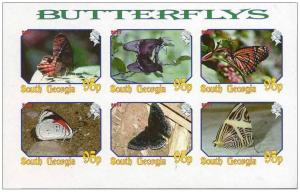 GEORGIA SHEET IMPERF CINDERELLA BUTTERFLIES INSECTS
