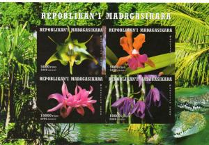 Madagascar 1999 Orchids/Lagartos/Forest Shlt (4) Imperforated MNH VF