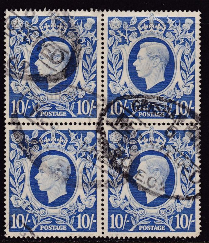 Great Britain 1939 King George VI.. 10/- Used Block of Four  Well Centered F/VF