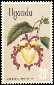 Uganda #124-129, Incomplete Set(6), High Values, 1969, Flowers, Never Hinged