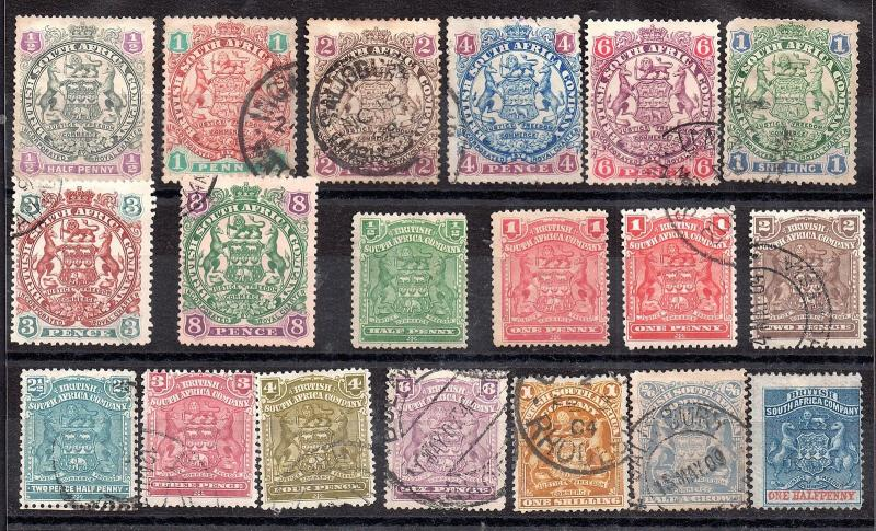 Rhodesia BSAC unchecked collection to Half Crown WS4186