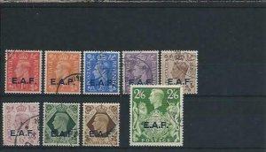BOIC SOMALIA 1943-46 SET OF NINE FU SG S1/S9 CAT £25
